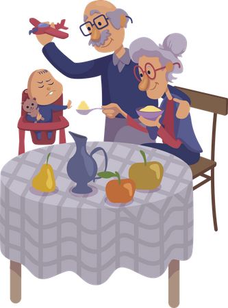 Grandparents feeding baby Illustration