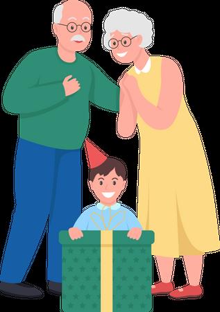 Grandparents giving gift to grandson Illustration