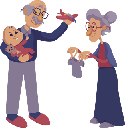 Grandparents playing with infant Illustration