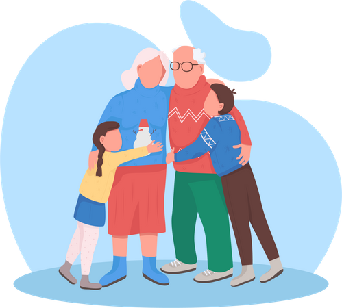 Grandparents with grandchildren Illustration