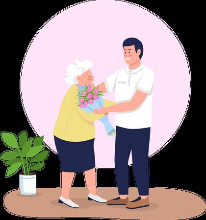 Grandson giving grandmother flowers Illustration