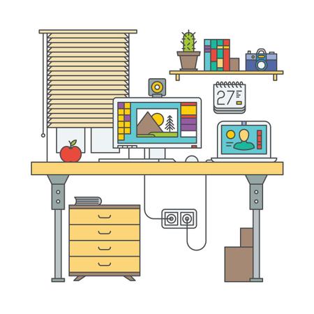 Graphic Designer Desk Illustration