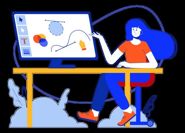 Graphic Designer Working On Computer Illustration