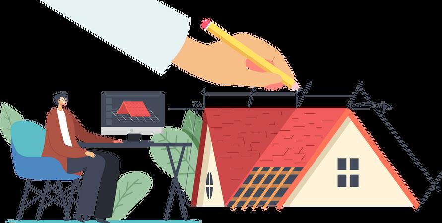 Graphic Designer Working on Computer in Engineering Program Illustration