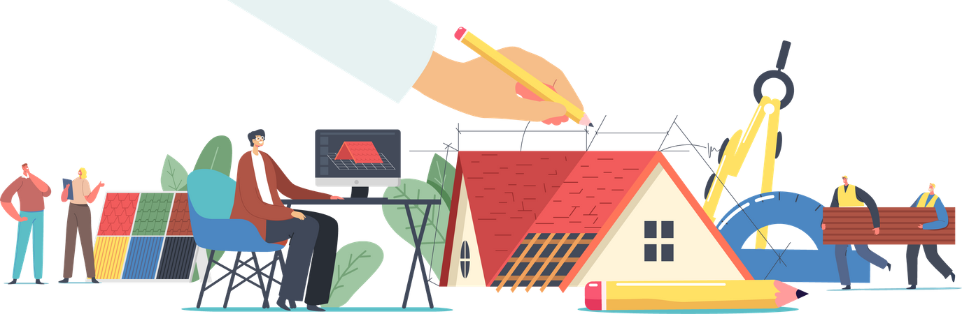 Graphic Designer Working on Computer in house Engineering Program Illustration