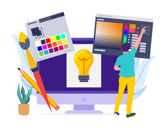 Graphic Designer working on web layout Illustration