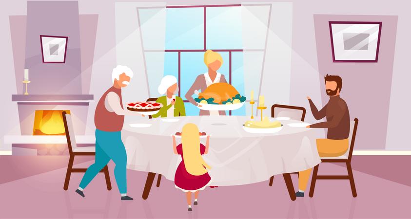 Grateful meal Illustration