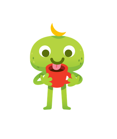 Green Coffee Monster Illustration