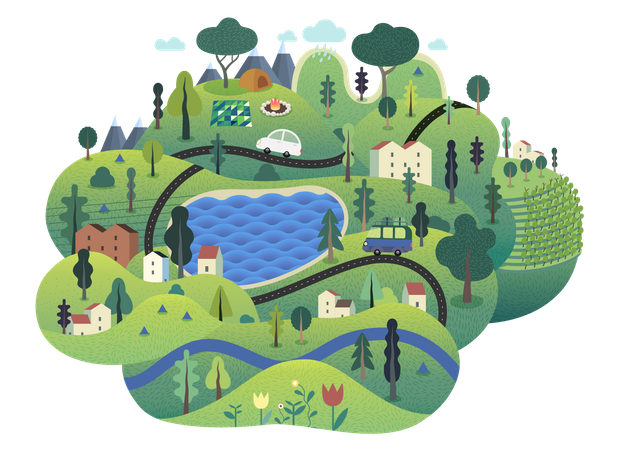 Green island with lake, hills, roads, cars, houses and trees Illustration