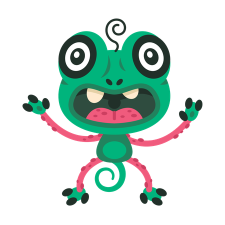 Green monster who look like a frog Illustration
