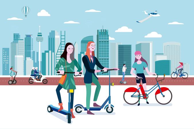 Green transport in a smart city Illustration
