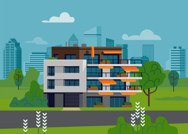 Green urban environment landscape with apartment building Illustration