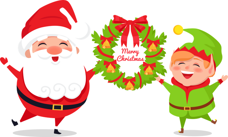Greeting Card with Santa Claus and Elf, Web poster Illustration