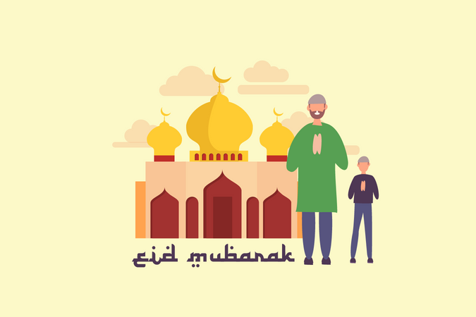 Greeting eid mubarak Illustration