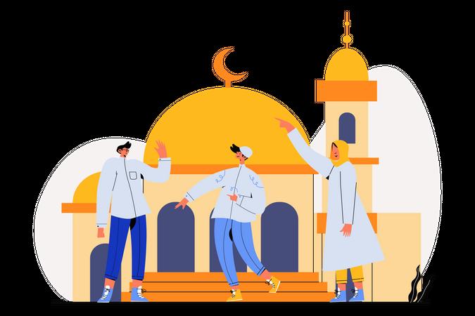 Greetings on Eid Al Fitr Illustration