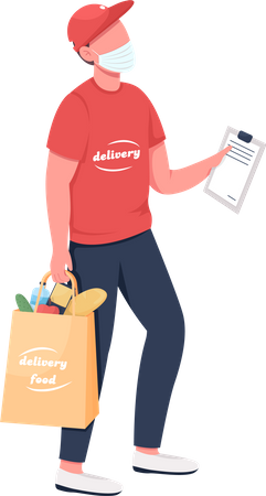 Groceries delivery carrier in mask Illustration