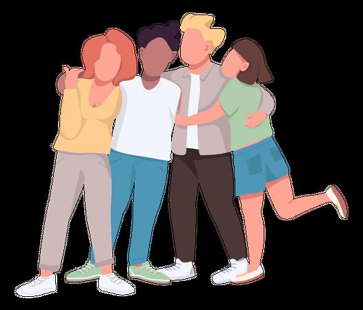 Group hug Illustration