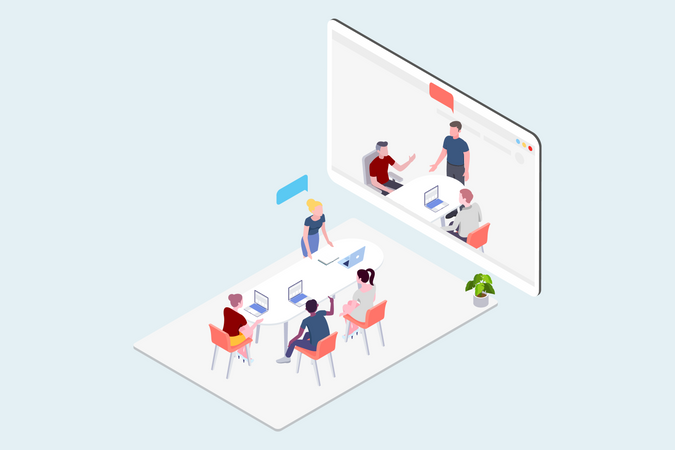 Group of business people having a video conference meeting Illustration