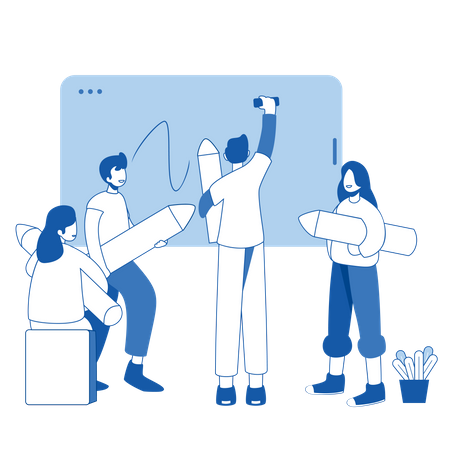 Group of business person working on startup Illustration