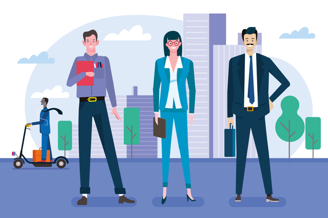 Group of businessmen and women as a teamwork standing in front of their offices Illustration