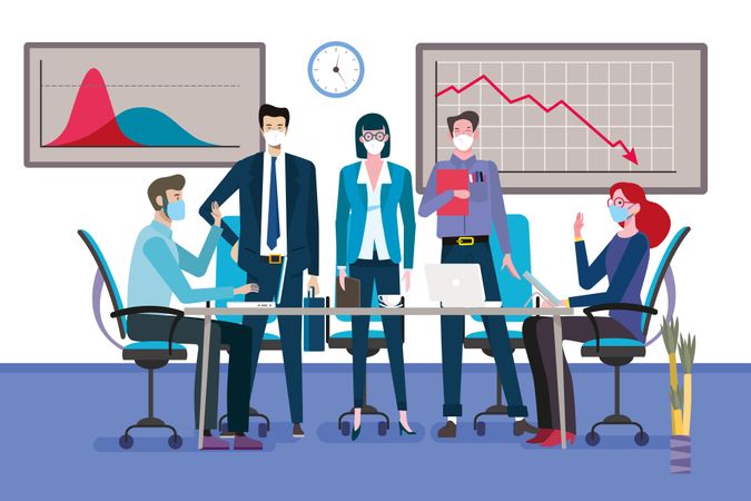 Group of businessmen and women as teamwork standing around a meeting table with face mask. Illustration