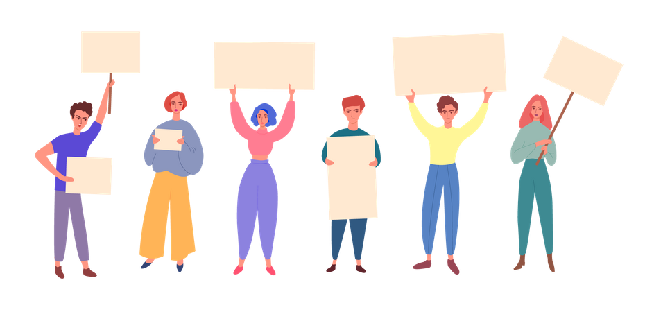 Group of diverse people cartoon characters holding blank banners or placards Illustration
