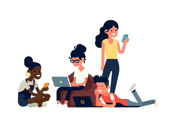 Group of diverse people using devices Illustration