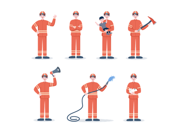 Group of Firefighters Dealing with fire emergency Illustration