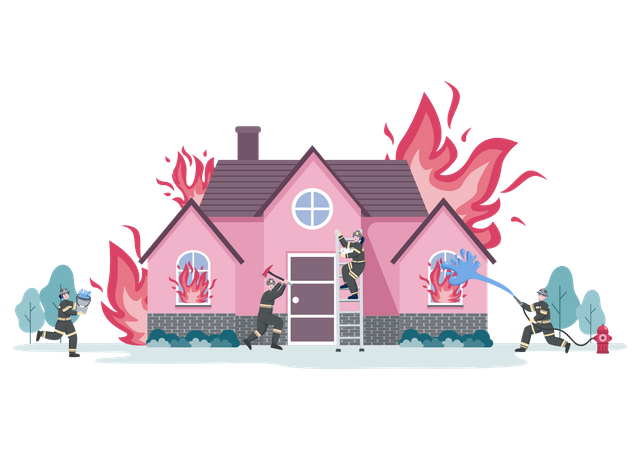 Group of Firefighters Dealing with fire emergency on house Illustration