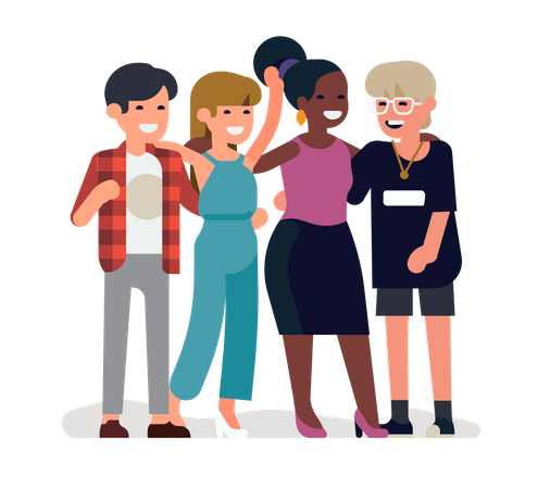 Group of four friends laughing Illustration
