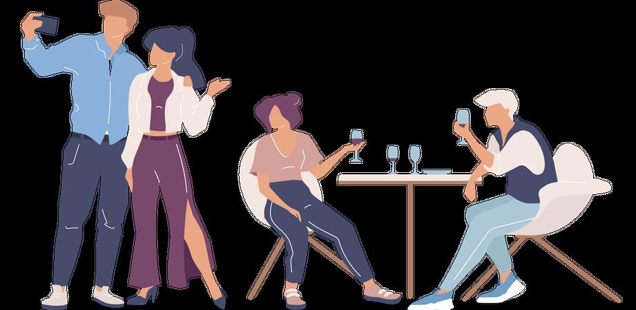 Group of friends at restaurant Illustration