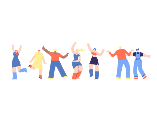 Group of friends dancing Illustration