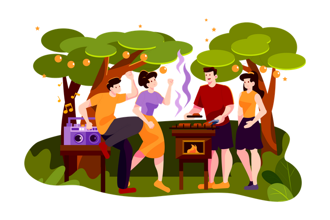 Group of friends dancing at outdoor barbecue party Illustration