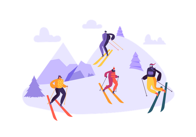 Group of friends enjoying skiing Illustration