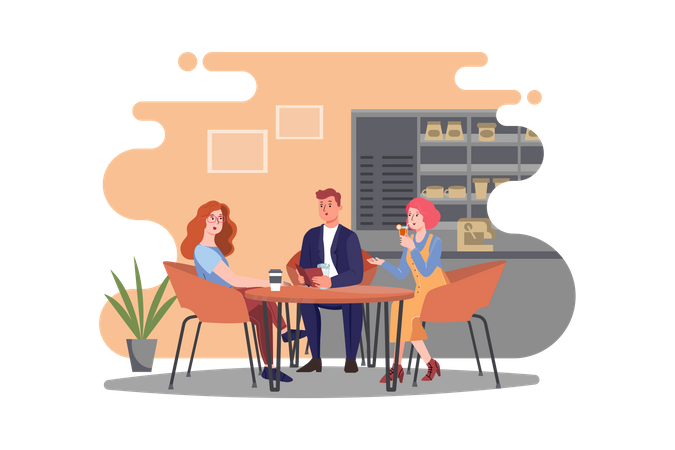 Group of friends sitting in cafe Illustration