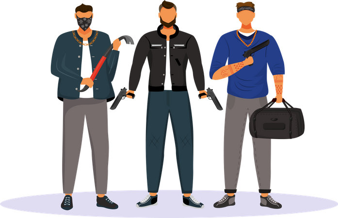 Group of gangsters Illustration