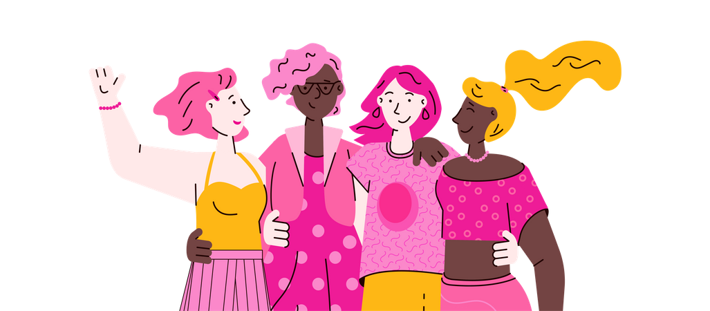 Group of girls Illustration