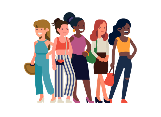 Group of girls standing together Illustration