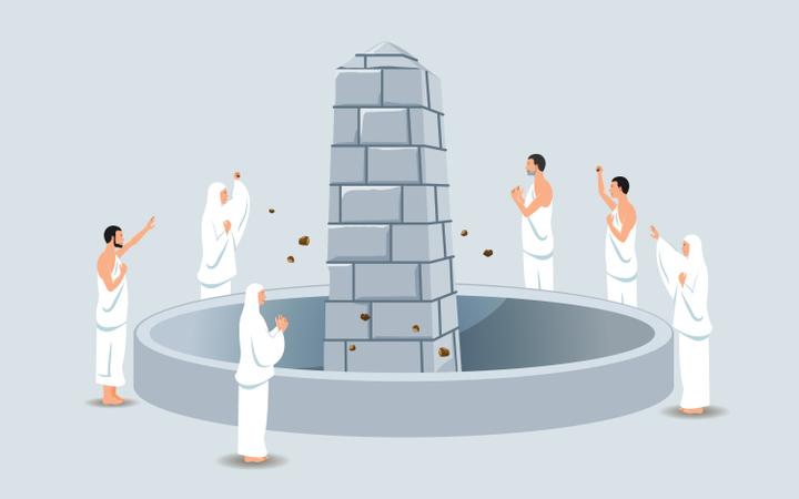 Group Of Hajj Pilgrims Stoning Devil Pillar Illustration