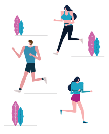 Group Of Joggers Exercising In The Park Illustration