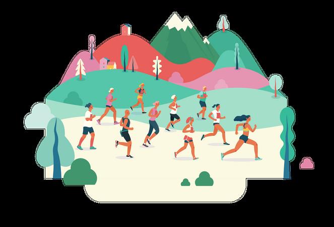 Group of Marathon runners running in field Illustration