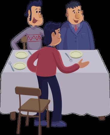 Group of men at dinner table Illustration