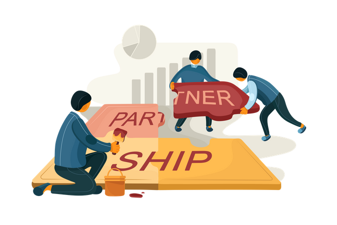 Group of people doing partnership in business Illustration