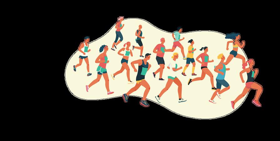 Group of people running in marathon Illustration