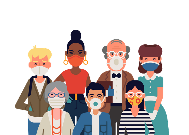 Group of people wearing facemask Illustration