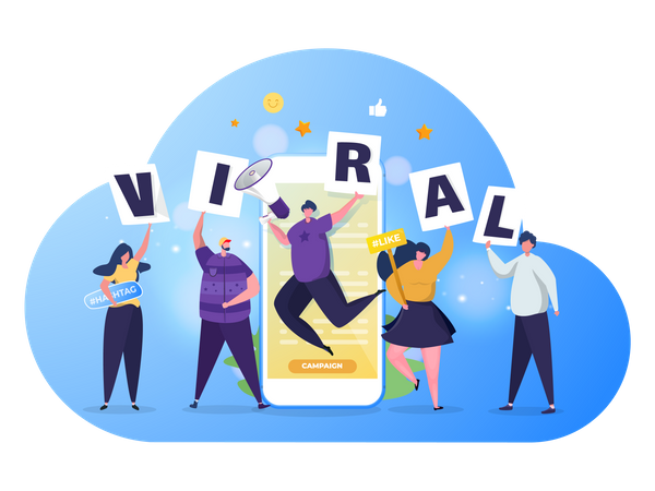 Group of people with viral campaign Illustration