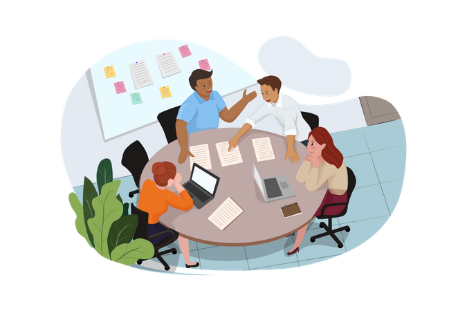 Group of people working out business plan in the office Illustration