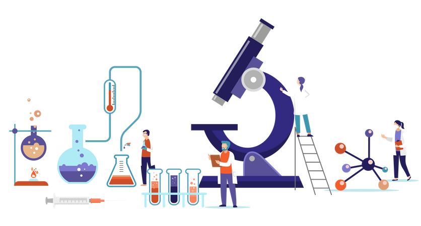 Group of scientists working in laboratory Illustration