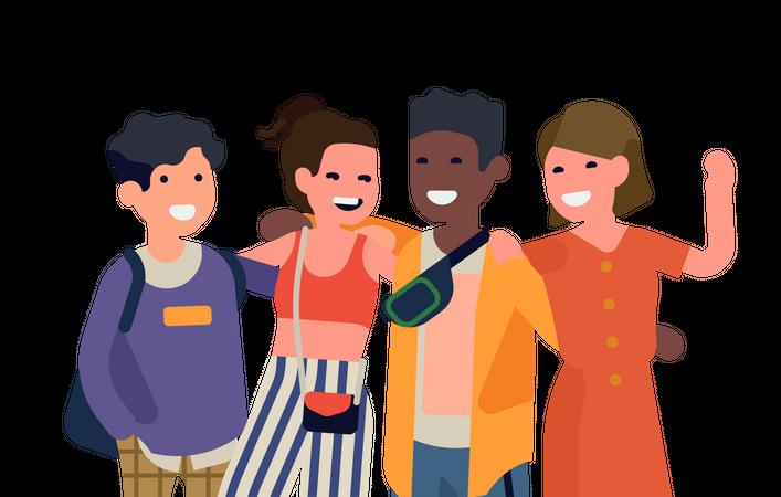 Group of university classmates standing together Illustration