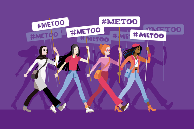 Group of women from different ethnic groups march, protesting and displaying metoo banners Illustration